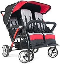 Foundations Quad Sport 4-Passenger Folding Stroller with Canopy, Red