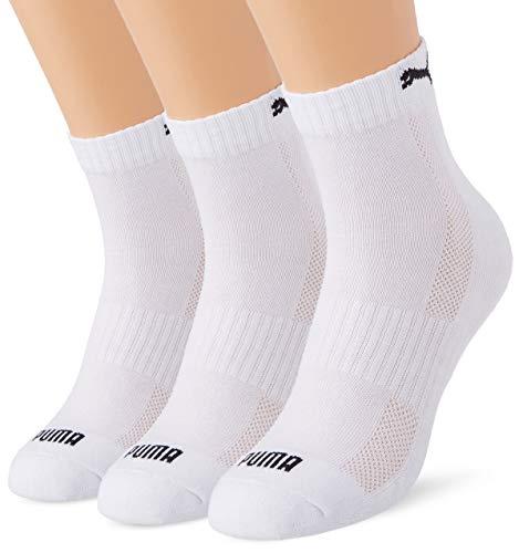 PUMA Cushioned Quarter Socks (3 Pack) Calzini, Bianco, 35-38 Unisex-Adulto