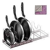 MASTERTOP Pfannenhalter mit 1 Doppelseitiges Reinigungstuch, Topfregal Pfannen Organizer Insgesamt 7 verstellbare Fächer für Küche