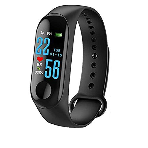 SHOPTOSHOP Smart Band Fitness Tracker Watch with Heart Rate, Activity Tracker Waterproof Body Functions Like Steps Counter, Calorie Counter, Blood Pressure, Heart Rate Monitor LED Touchscreen (Black)