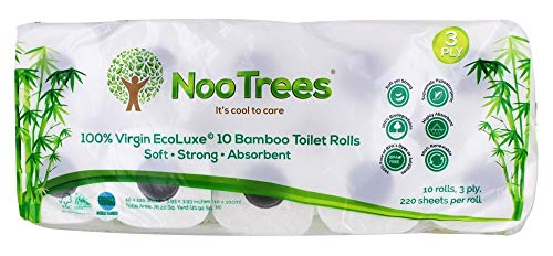 NooTrees Bamboo 3-ply Bathroom Tissue, 220 Sheets, 10 Rolls, Ecofriendly, 100 Percent Biodegradable & Sustainable, Hypoallergenic, Ultra Absorbent Velvety Soft, FSC Certified