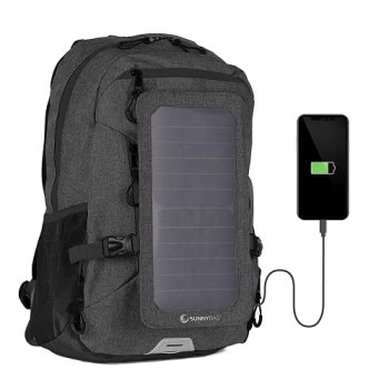 SUNNYBAG Explorer+ Solar Backpack Charger | World's Strongest Water Resistant Solar Panel for Smartphones and All USB-Devices on The go | 15L Volume and 15'' Laptop Compartment | Black/Black