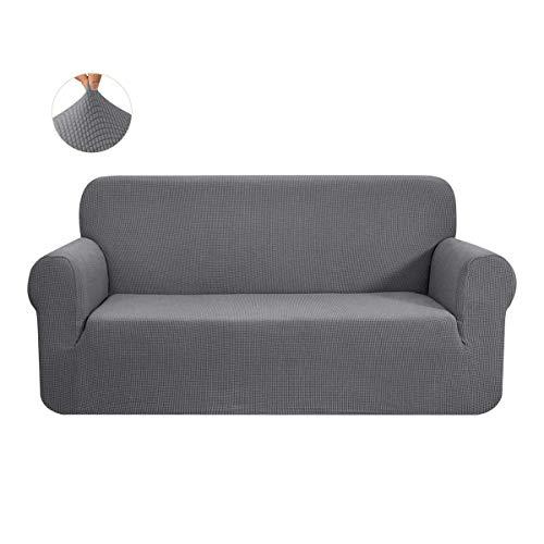 CHUN YI 1-Stück Sofa Überwürfe Sofabezug Jacquard Elastische Stretch Spandex Couchbezug Sofahusse Sofa Abdeckung (Hellgrau, 3-sitzer)