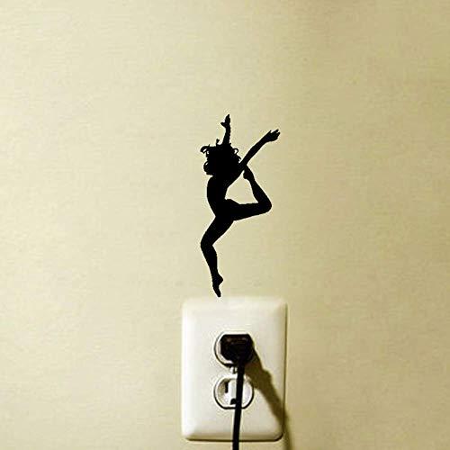 posterguo Lichtschaltersticker 4 stücke Tänzerin Wandaufkleber Dekoration Vinyl Lichtschalter Aufkleber Dekorieren sie Ihr zuhause PVC Kunst Aufkleber Dekoration Blau