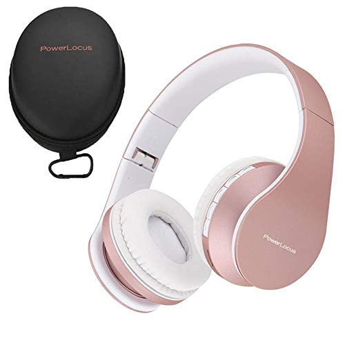 PowerLocus P1 – Auriculares Bluetooth inalambricos de Diadema Cascos Plegables, Casco Bluetooth con Sonido Estéreo con Conexión a Bluetooth Inalámbrico y Audio Cable para Movil, PC, Tablet - Oro Rosa