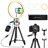 "TaoTronics 12' Selfie Ring Light with 3 Color Modes, 10 Adjustable Brightness, 61"" Extendable..."
