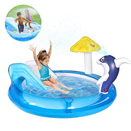 Qdreclod Aufblasbares wasserspielcenter, Planschbecken Mit Rutschen, Spielzentrum für Kinder, Wasser-Kinderbecken mit Delphinspray Wassersprinkler, 72,8 Zoll