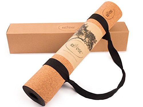 Repose Eco-Friendly Yoga mat, Responsibly Sourced Cork & Natural Rubber Mat for Earth and Health – 72' Long 24' Wide 4mm Thick, Non-Toxic, for Hot Yoga, Pilates and Exercise! Yoga mat Strap Included