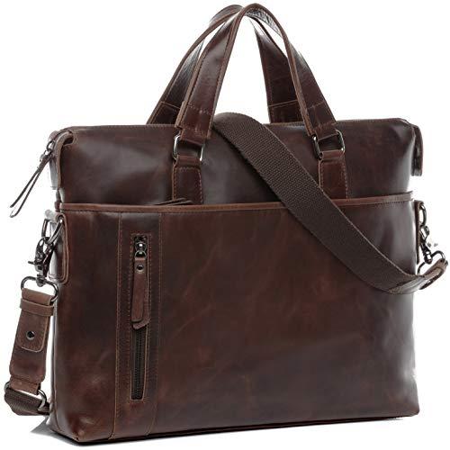 BACCINI Laptoptasche echt Leder Leandro groß Businesstasche 15 Zoll Laptop Umhängetasche Aktentasche Herren braun