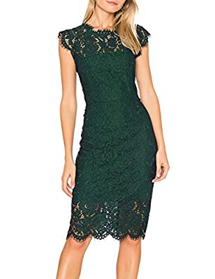 Size:S(US 4-6) / M(US 8-10) / L(US 12-14) / XL(US16) If you are in between size,please size up Design: Eyelashes lace,Slimming Sheath Style, Full Lace Short Midi Dress, Full Zip Back Suit for Night date,Cocktail Party, Prom, Wedding, Formal Occasions...