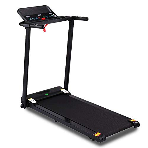 Buyer Empire Treadmill Motorised Running Belt Machine Digital Folding Incline Running and Walking Exercise Fitness Machine with LED Display Easy Control Home Gym (White) (Black)