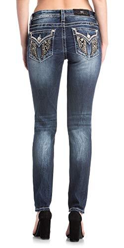 Miss Me Damen Skinny Jeans Velvet Wing Denim Blue - Blau - 26W x 30L