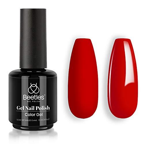 Beetles Gel Nail Polish, 1 Pcs 15ml Red Color Soak Off Gel Polish Nail Art Manicure Salon DIY at Home