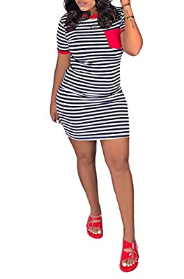 Casual stripe print slim fit summer beach t shirts pencil mini dress clubwear Material: polyester and spandex Occasion: party, club, nights out, cocktail, beach, evening, holiday and office Please see size specification in description to choose your ...