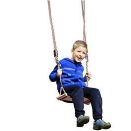 Heberry Swings Fun Adjustable Outdoor Wooden Swing for Kids Up to 330 Lb Child Wood Play Set Swing for Garden