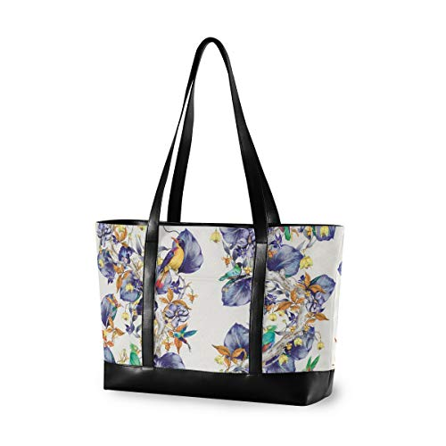 UNIIK Blue Hummingbirds Pattern Rain Forest Laptop Tote Bag