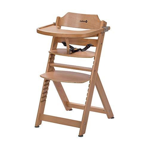 Safety 1st Timba Mitwachsender Hochstuhl, inkl. abnehmbares Tischchen, aus massivem Buchenholz, hohe Rückenlehne, ab ca. 6 Monaten bis ca. 10 Jahre (max. 30 kg), Buchenholz, natural wood (braun)