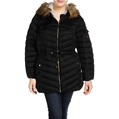 Jessica Simpson Women's Plus Size Cozy Lined Faux Fur Puffer Coat Black Size 1X