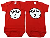 Twin Boy and Girl Bodysuits, Includes 2 Bodysuits, 0-3 Month Twin 1 Twin 2