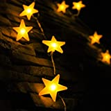 Guirlandes étoiles, par myCozyLite®, 40 lumières LED étoile chaîne avec batterie, Blanc chaud, étanche, Décoratifs étoiles lumières pour intérieur et extérieur, 5 mètres