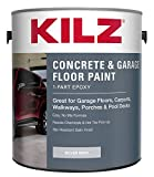 KILZ L377611 1-Part Epoxy Acrylic Interior/Exterior Concrete and Garage Floor Paint, Satin, Silver Gray, 1-Gallon, 1 Gallon, 128 Fl Oz