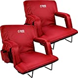 BRAWNTIDE Stadium Seat with Back Support - 2 Pack, Comfy Cushion, Thick Padding, 2 Steel Bleacher Hooks, 4 Pockets, Ideal Stadium Chair for Bleachers, Sporting Events, Concerts (Red, Regular Size)