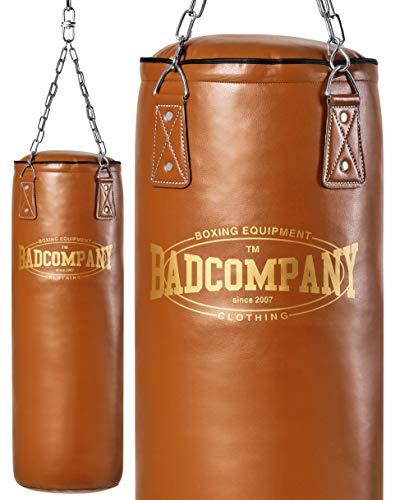Bad Company Retro Boxsack I Punching Bag gefüllt inkl. Heavy Duty Vierpunkt-Stahlkette - 120 x 35 cm
