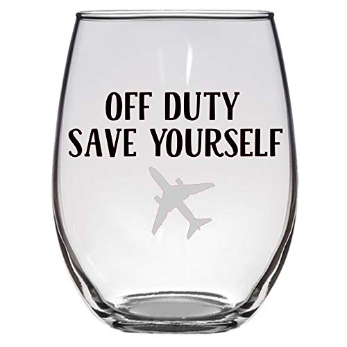 Off Duty Save Yourself Wine Glass, Pilot, Flight Attendant,...