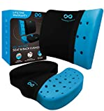 Everlasting Comfort Memory Foam Seat Cushion and Lumbar Back Cushion Combo - Gel Infused and Ventilated - Orthopedic Design for Coccyx and Tailbone Pain - Can Help Sciatica - Perfect for Office Chair