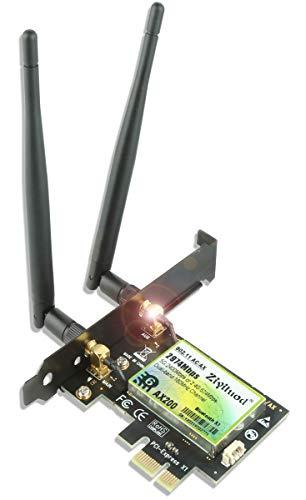 Ziyituod Carte Réseau PCI-E AX WiFi 6 sans Fil 3000 Mbps   Bluetooth5.1   Intel WiFi 6 AX200   5 GHz/2,4 GHz avec 160MHz, OFDMA, Ultra-Faible Latence  Compatibilité Win 10 64bit,Linux (ZYT-AX200)