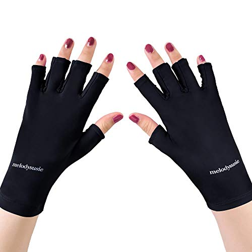 MelodySusie UV Glove for Gel Nail Lamp, Professional UPF50+ UV Protection Gloves for Manicures, Nail Art Skin Care Fingerless Anti UV Sun Glove Protect Hands from UV Harm, Sunburn, Home Outdoor Use