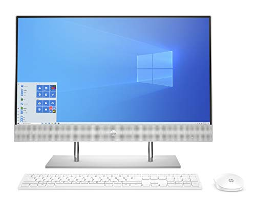 HP AIO Core i5 10th Gen 23.8-inch FHD with Alexa (8GB/256 GB SSD+1TB HDD/Windows 10/MS Office 2019/Natural Silver), 24-dp0813in