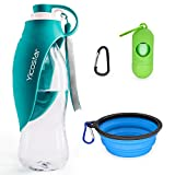 Yicostar Dog Water Bottle for Walking, 20 OZ Travel Pet Water Bottle with Collapsible Dog Bowl and...