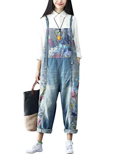 Youlee Damen Sommer Breites Bein Hose Denim Latzhose Overall Hosen Style 2