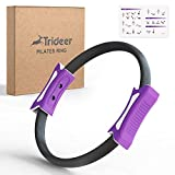 Trideer Yoga Pilates Ring, 12 Inch Magic Fitness Circle for Home Resistance Exercise and Postpartum Recovery, Toning Thighs, Abs and Legs, Updated Grip Handles, Free Workout Guide Included