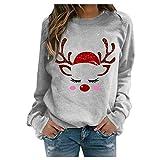 Mujer Jersey Camisetas Mujer Invierno Jersey Navidad con Estampada Navideños de Talla Grande Camisas Tallas Grandes Casual Tops Sexy Suéter Suelta Camiseta Manga Larga