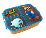Super Mario Kinder Brotdose mit 3 Fächern, Kids Lunchbox,Bento Brotbox für Kinder - ideal für Schule, Kindergarten oder Freizeit