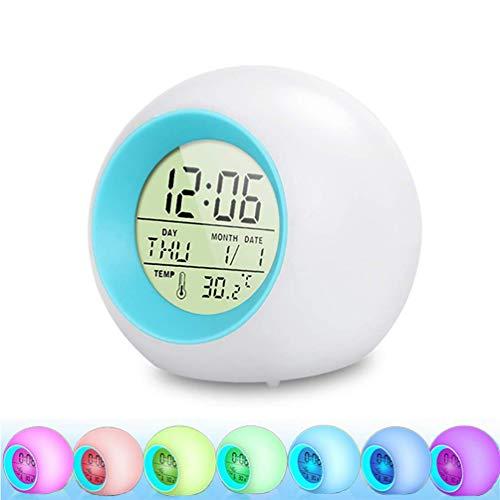 Lachesis LED Kinderwecker, Wake Up Wecker 7 Farbwechsel Ändern Lichtwecker für Kinder, 12/24 Stunden Digitaluhr Licht, One-Tap-Control, Nachttischuhr mit Datum, Temperatur und Schlummerfunktion