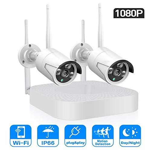QLPP Sistema di videosorveglianza Wireless 2CH 1080P HD Video, Kit NVR WiFi 1080P per telecamere IP Wireless Bullet da 2 PCS da 1,3 MP Senza Fili, Interno/Esterno
