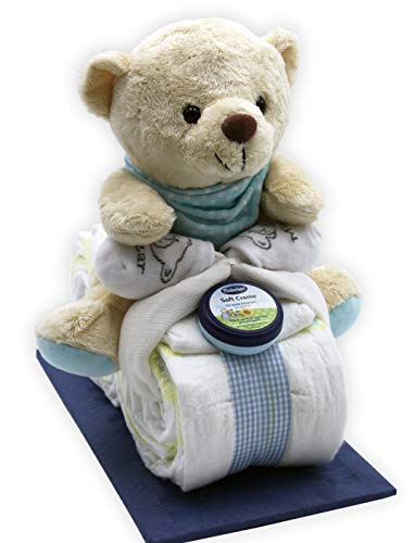 Windeltorte/Windelmotorrad blau für Jungen mit Teddybär + gratis Klappkarte
