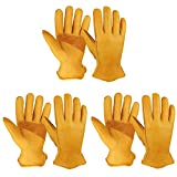 OZERO 3 Pairs Flex Grip Leather Working Gloves Stretchable Wrist Tough Cowhide Work Glove (Gold, Large)