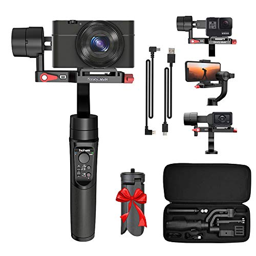 Hohem Isteady Multi 3-Axis Gimbal Stabilizer for Sony RX100 Series, Sony RX0, X3000, Gopro Hero 7, iPhone X XR XS, Handheld Gimbal Stabilizer with Tripod for Action Camera Digital Camera Smartphone