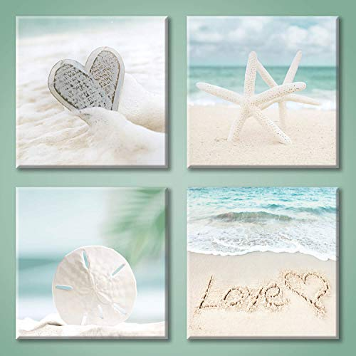 Aqua Beach Seashell Pictures Artwork: Love & Starfish Canvas...