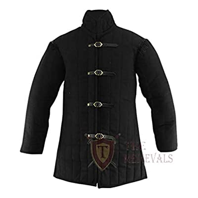 """Gambeson Coat Size (X-Large:- Chest 47"""" Length From Shoulders 33"""" Sleeves 23"""") Aketon Jacket Armor. When worn by itself it is comfortable to wear. Similarly the elbow pads are internal with different medieval time horn/bone/wood button, Fabric covere..."""