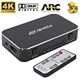 HDMI Switch 4x1 4K@60Hz Audio Optical TOSLINK Ultra HD 4 Port HDMI Switcher 1080p 3D for Xbox PS4 Blue-Ray Player Roku