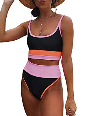 Removable soft bra padded,wire free Make your beach holiday with fun and happiness in sexy bikinis STYLE: Scoop neck,sporty crop striped color block printed tank bikini top High Waisted Bikini Bottoms: Slimming high leg cut, Tummy control swimsuits f...