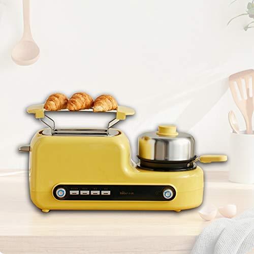 EnweLampi Sandwich Frühstücksmaschine, 2 Scheiben Toaster & Brotbackautomaten, Mit Eierkocher,Edelstahl Mini-Pfanne, Dampfgarer, 6 Bräunungsstufen, Küchenzubehör, BPA-Frei