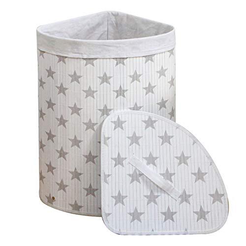 wm Homebase Wäschekorb Bambus Faltbar Wäschebox Wäschesammler herausnehmbar Wäschesack Eckig 35x35x60 cm