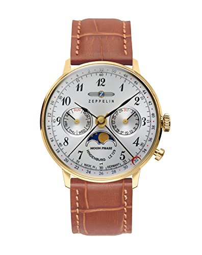 Zeppelin Unisex Chronograph Quarz Uhr mit Leder Armband 7039-1