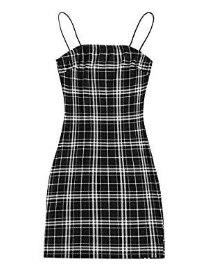 Summer Plaid Bodycon Cami Dress Soft and comfortable fabric, Fabric has some stretch Feature: Plaid, Spaghetti Strap, Slim Fit, Pencil, Bodycon, Fashionable Suitable occasions: Perfect for casual wear, daily life and outgoing, fit for summer Size Rec...
